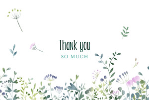 Watercolour meadow photo pink purple wedding thank you cards