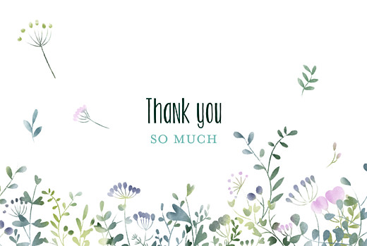 Wedding Thank You Cards Watercolour meadow pink