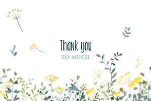Watercolour meadow yellow yellow wedding thank you cards