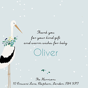Stork blue my lovely thing  baby thank you cards