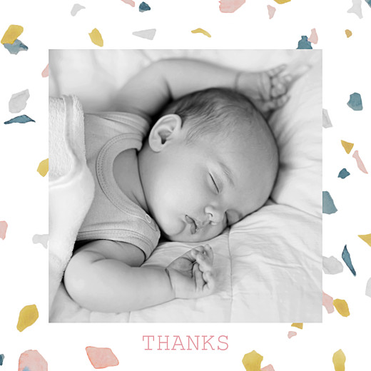 Baby Thank You Cards Granite pink & yellow