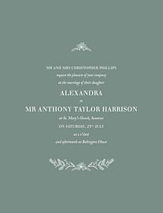 Natural chic green green wedding invitations