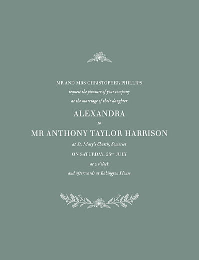 Wedding Invitations Natural chic green