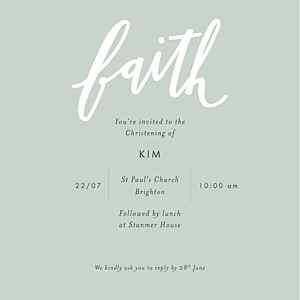 Christening Invitations Faith green