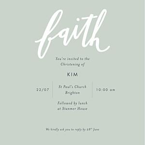 Faith green christening invitations