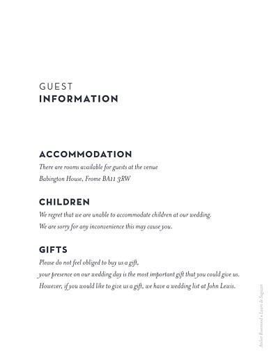 Guest Information Cards Laure de sagazan white