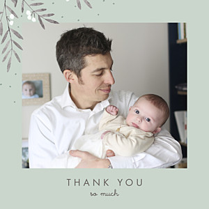 Jubilation green christening baby thank you cards