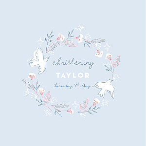 Rejoice blue christening invitations