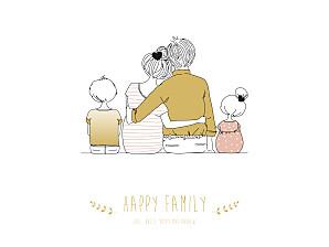 Posters Lovely family 2 children girl