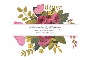 Save The Dates Rose garden pink