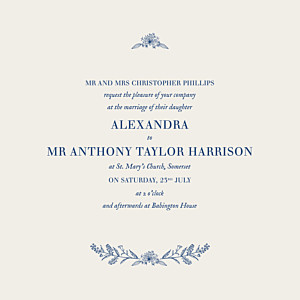 Natural chic (square flat) blue elegant wedding invitations