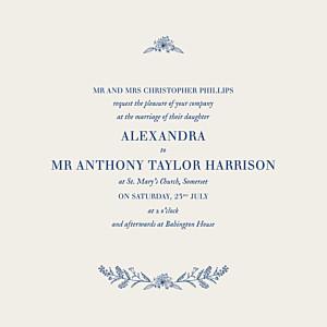 Rustic natural chic (square flat) blue wedding invitations
