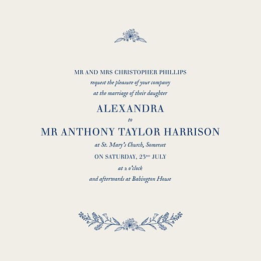 Wedding Invitations Natural chic (square flat) blue