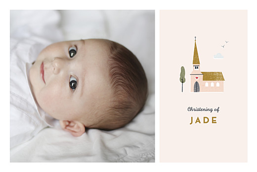 Christening Invitations Charming chapel pink