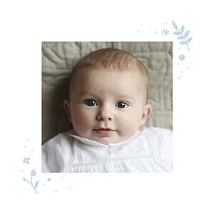 Floral cross blue christening baby thank you cards