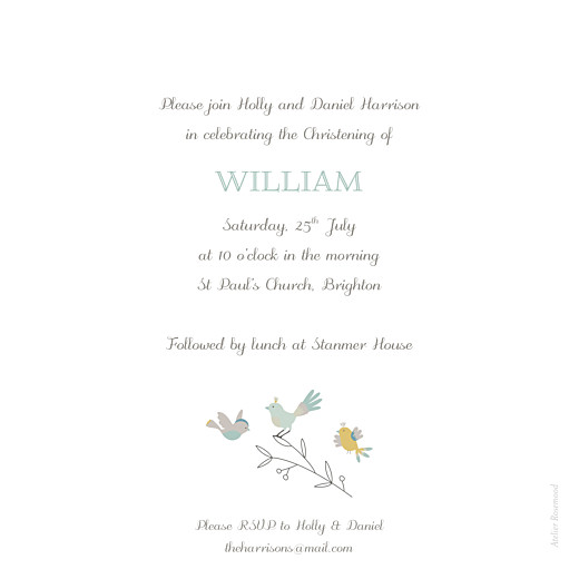 Christening Invitations Birds of a feather green - Page 2