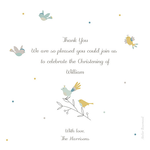 Baby Thank You Cards Birds of a feather green