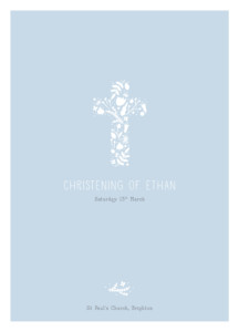 Christening Order of Service Booklets Floral cross blue