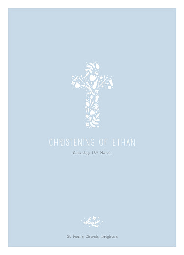 Christening Order of Service Booklets Floral cross blue