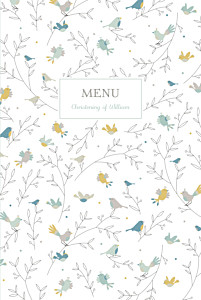 Birds of a feather green christening menus