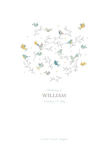 Birds of a feather green christening order of service booklets