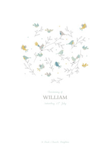 Christening Order of Service Booklets Birds of a feather green