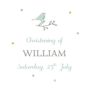 Birds of a feather green christening gift tags