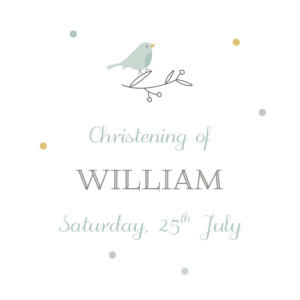 Christening Gift Tags Birds of a feather green