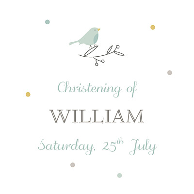 Christening Gift Tags Birds of a feather green finition