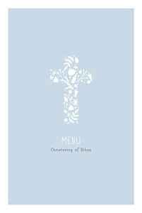 Christening Menus Floral cross blue