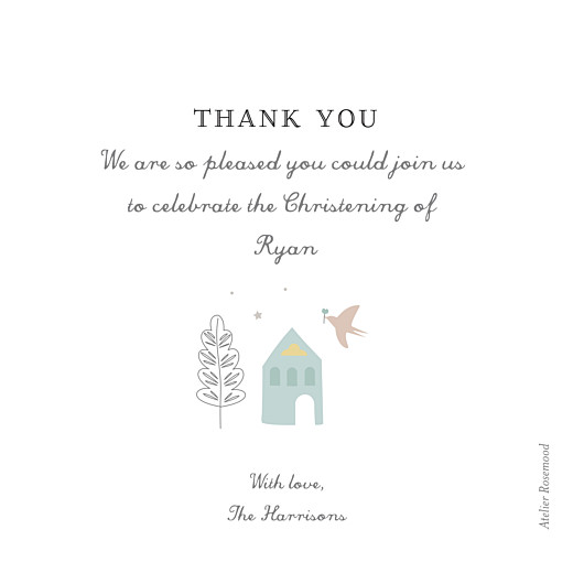 Baby Thank You Cards Village chapel blue