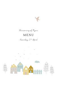 Village chapel blue christening menus