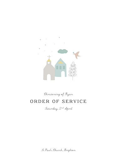Christening Order of Service Booklets Village chapel blue