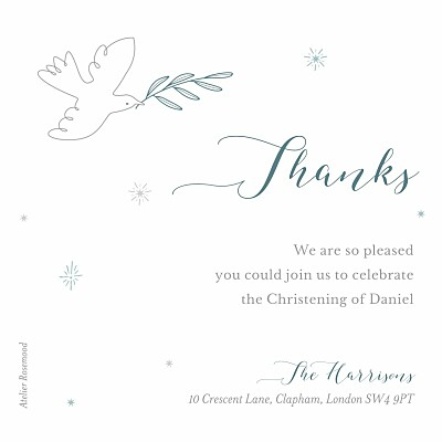 Baby Thank You Cards Delicate dove blue finition