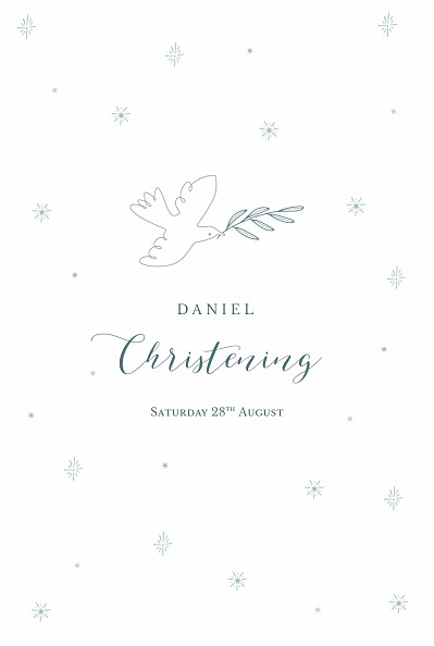 Christening Menus Delicate dove blue finition