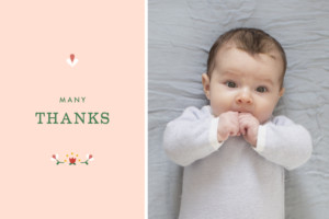 Baby Thank You Cards Folk celebration red