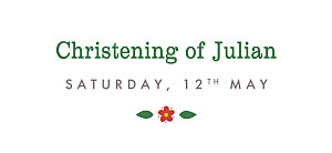 Christening Gift Tags Folk celebration red