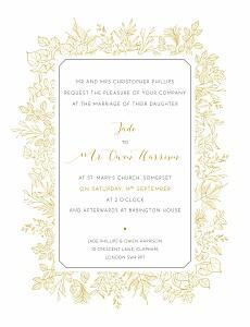 Botanical border yellow yellow wedding invitations