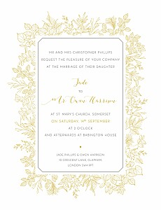 Vintage botanical border yellow wedding invitations