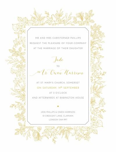 Wedding Invitations Botanical border yellow
