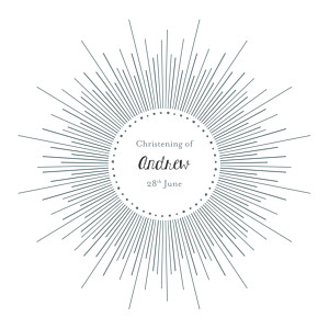 Lumière white christening invitations