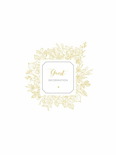 Guest Information Cards Botanical border yellow