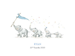 Small Posters Elephant family of 4 blue