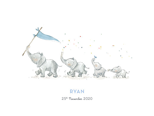 Small Posters Elephant family of 4 blue - Page 1