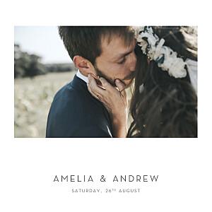 Elegant heart (foil) white photo wedding invitations