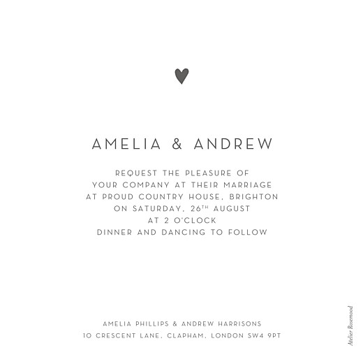 Wedding Invitations Elegant heart (foil) white - Page 2