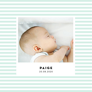 Pastel stripes (4 pages) green girls baby announcements
