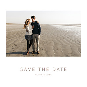 Elegant photo white save the date cards