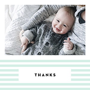 Pastel stripes green baby thank you cards