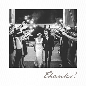 Little polaroid white grey wedding thank you cards